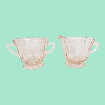 Pink Glass Sugar and Creamer Set, Indiana Glass Recollections