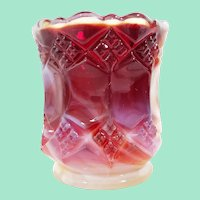 Imperial Glass Three in One Ruby Slag Glass Toothpick Holder