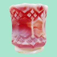 Imperial Glass Toothpick Holder, Ruby Slag Glass, Three-in-One Pattern
