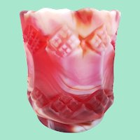 Ruby Satin Slag Glass Toothpick Holder by Imperial Glass,  Three-in-One Pattern