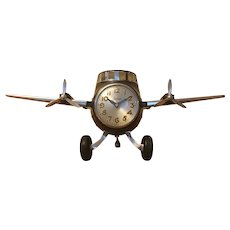 Airplane Clock and Night Light in Bakelite and Metal
