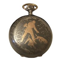 Antique Pocket Watch with Gold Inlay: HUNTER