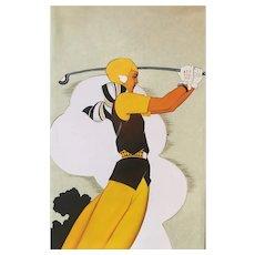 Female Golf Player Painting Art Deco