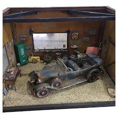 "Car Garage Diorama 1931 Lincoln- K , Ford Model ""T"" Display"