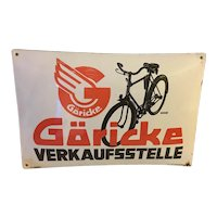Rare Bicycle Advertising Sign Enamel 1930's