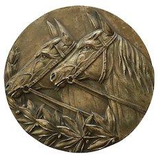 Old Bronze Horse Racing Trophy Plaque
