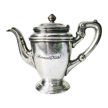 Vintage Silver Plate Teapot from The Fairmont Hotel San Francisco