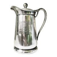 1955 Silver Plated Insulated Pitcher from Gunter Hotel in San Antonio TX