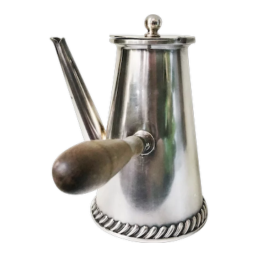 Antique Silver Plate Tiffany & Co Chocolate Pot with Side Handle