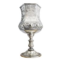 Antique 1880 Silver Plated Bicycle Trophy