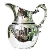 Antique Victorian Era Silver Plated Water Pitcher