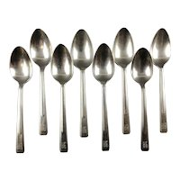 Set of 8 Silver Plated Teaspoons from Burlington Route Railroad
