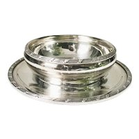 1923 Silver Plated Finger Bowl with Underplate from Santa Fe Railroad