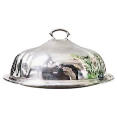 Large Silver Plate Dome and Platter Set from Santa Fe Railroad