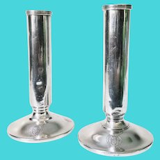 Pair of 1948 Silver Plated Vases from Hotel Martinique NYC