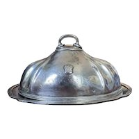 Antique Silver Plated Dome & Platter from The Hotel La Salle Chicago