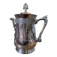 1884 Victorian Silver Plated Music Trophy Pitcher