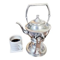 1929 Silver Plate Tilting Teapot from Lake Shore Hotel Cleveland