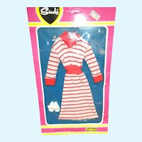 MIP Red and White Stripe Dress and White Shoes for Sindy Doll