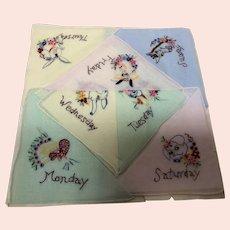 Set of Days of the Week Children's Handkerchiefs