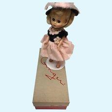 MIB FGinger Doll in Pink and Black Dress Wearing Cha-Cha- Heels