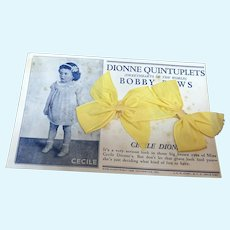 Dionne Quintuplets  Bobby Bows - Cecile Yellow Bow