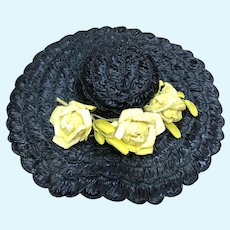 Madame Alexander Cissy Black Hat with Yellow Roses