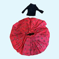 Madame Alexander Cissette Red and Black and Gold  Print Skirt, Black Blouse