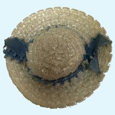 Madame Alexander Cissette White Hat with Blue Picot Ribbon