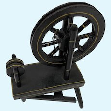 Black Lacquered Wood Spinning Wheel