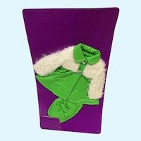 Lamb on Leather Green Coat and Hat for Velvet Doll