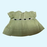 Madame Alexander Dionne Quintuplet Green and White Polka Dot Dress