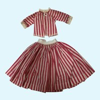 Miss Nancy Ann Pink and White Stripe Skirt and Blouse