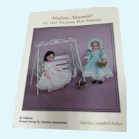 "Madame Alexander 14"" Girl Victorian Doll Patterns Book"