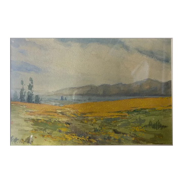 Santa Barbara California Landscape Watercolor - Elmer Wachtel