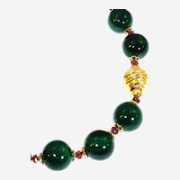 Laboratory Malachite and Natural Indian Ruby Necklace