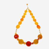 Yellow-Orange Sunny Different shapes Agate Necklace