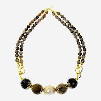Brown Faceted Agate  necklace with special Accessories