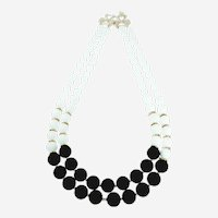 White-Black  Agate Multi-strand Necklace with round beads