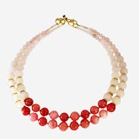 White-Pink Agate Multi-strand Necklace with round beads