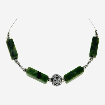 Russian Natural Green Serpentine Flat Rectangle Necklace
