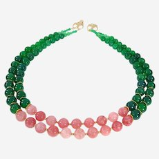 Multi-Strand Necklace Beads  Green & Pink with metal decoration.