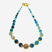 Blue  Agate Necklace with rich special accessories