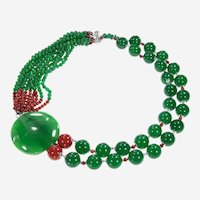 Multi-Strand Necklace Beads  Green & Red with metal decoration.