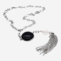 Stainless Steel Necklace with Decoration accessory and natural stone