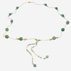 Gold Plated Long Necklace with Matte  Green Agate Beads and fine accessories