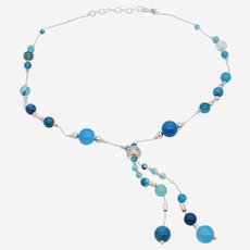 Silver Long Necklace with Matte  Blue Agate Beads and Silver Beads