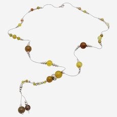 Silver Long Necklace with Yellow Agate Beads and Silver Beads
