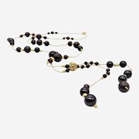 Silver Gold Plated Long Necklace with Brown Agate Beads and Silver Beads