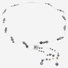 Beautiful Long Necklace with Matte  Gray Agate Beads and special accessories